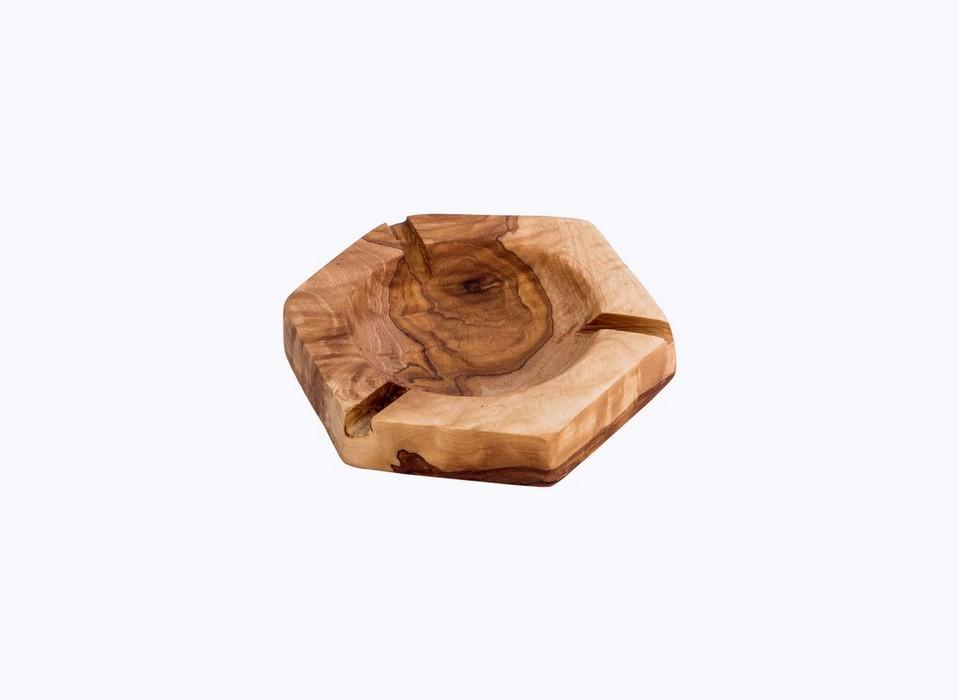Hexagonal-Ashtray-olive-wood-satix