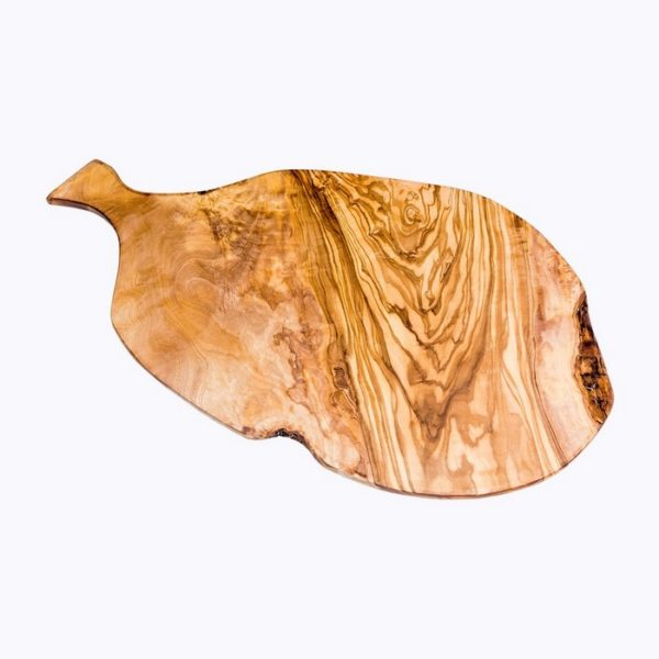 Oval cutting board with handle olive wood satix
