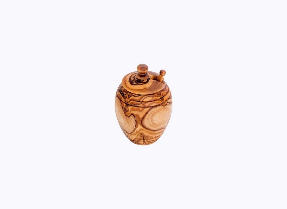 Barrel-Honey-Pot-olive-wood-satix